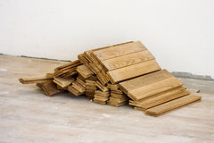 Wood blocks. Wooden flooring is ready for floor Stock Images