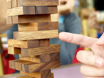 Wood bloks stack strategy game. Royalty Free Stock Images