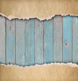 Wood blue background with old torn paper 3d illustration Stock Images