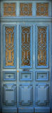Wood blue door. Closed with decorations Royalty Free Stock Photos