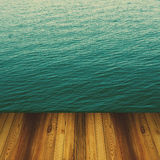 Wood and blue sea and sky background Royalty Free Stock Photography
