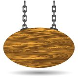 Wood board and chain Royalty Free Stock Photo