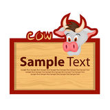 Wood board with cow for your design Stock Image