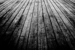 Wood board floor. Texture of wooden boards floor, Black and White photo Stock Image