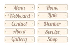 Wood board menu bar with wording menu home webboard link contact member about service gallery shop for website design Stock Image