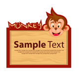 Wood board with monkey for your design Stock Photos