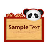 Wood board with panda for your design Royalty Free Stock Photography