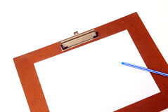 Wood board with paper and pen on white background Royalty Free Stock Images