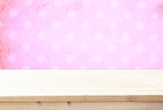 Wood board and pink vintage background for product display Royalty Free Stock Photography