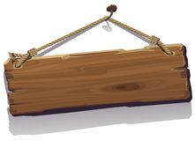 Wood board on the rope. Vector illustration Royalty Free Stock Photography