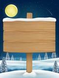 Wood board sigh on night christmas winter lake. A wood board sigh on night christmas winter lake Stock Photos