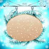 Wood board on Snow Background royalty free illustration