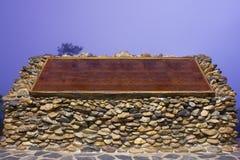 Wood board on stone Stock Photo