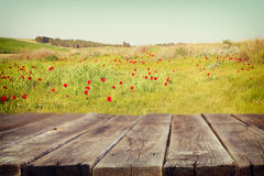 Wood board table in front of summer landscape of field with many flowers . background is blurred Stock Images