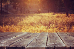 Wood board table in front of summer landscape with lens flare. Royalty Free Stock Photography
