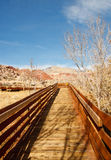 Wood Board Walkway Across Desert Royalty Free Stock Photography