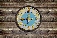 Wood board wooden clock Royalty Free Stock Photography