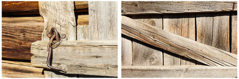 Wood boards background rusty latch collage Stock Image