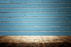 Wood boards and blue dark background stock photo