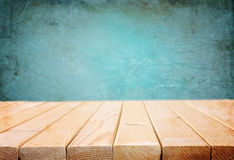 Wood boards and blue dark background Royalty Free Stock Photos