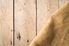 Wood Boards and Burlap Sack Stock Photography