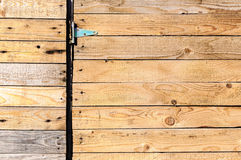Wood boards door hinge Royalty Free Stock Photography