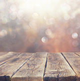 Wood boards and nature backgrounds of summer light among trees. Stock Photography