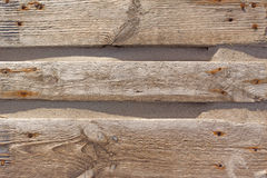 Wood boards old tree texture. Background with rusty nails and sand Stock Photos