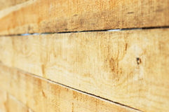 Wood boards. Perspective view. Roughly sawed wood boards grunge  background. Perspective view, shallow DOF Stock Image