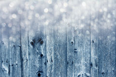 Wood boards and snowflakes Stock Photography