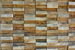 Wood boards stacked highly tightly. Stacked wooden board pattern with irregularities Stock Images