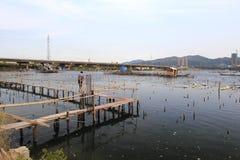 Wood boardwalk of fishing village Stock Images