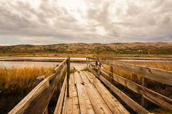 Wood boardwalk leading to a saline. Wooden bridge is leading into a saline. picture taken in pag, croatia Royalty Free Stock Photography