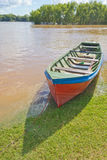 Wood boat during a flood at Rio Pardo river Stock Images