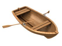 Wood boat isolated on white Royalty Free Stock Photo