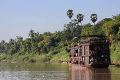 Wood boat on Mekong river Stock Image