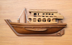 Wood boat model on wood Stock Image