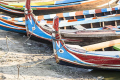 Wood boat Myanmar style at Ubein bridge. Stock Photo