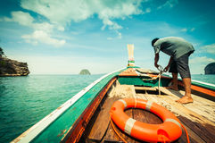 Wood boat and people, Thailand Royalty Free Stock Photo