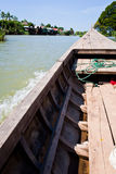 Wood boat on thousand islands of Mekong Royalty Free Stock Photo