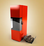 Wood boiler 3d render on gradient background Royalty Free Stock Image