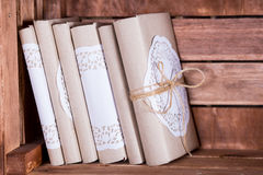 Wood book shelf with vintage books in library Royalty Free Stock Images
