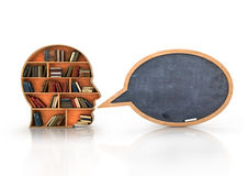Wood Bookshelf in the Shape of Human Head and books with school. Blackboard , Knowledge Concept stock illustration
