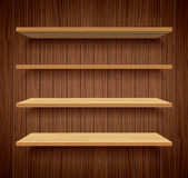Wood bookshelves on brown wood wall background flat design Royalty Free Stock Photos