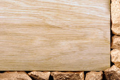 Wood border with gold nuggets. Closeup. Wood border with gold nuggets Stock Image