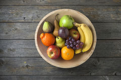 Wood Bowl Fruit Background Food Stock Images