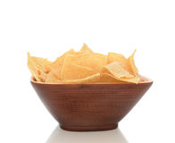 Wood Bowl Full of Corn Chips Stock Photos
