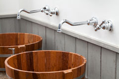 Wood bowl hand wash basin. In bathroom Stock Image
