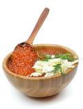 Wood Bowl of Red Caviar Stock Photos