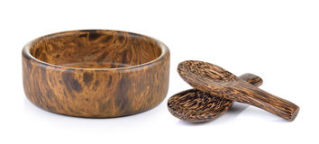 Wood bowl and wood spoon on white background Royalty Free Stock Image